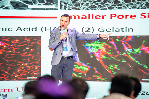 ChE Assistant Professor Sidi Bencherif on stage giving a talk at the 2019 World Young Scientist Summit in Wenzhou, China (Oct. 26-27).