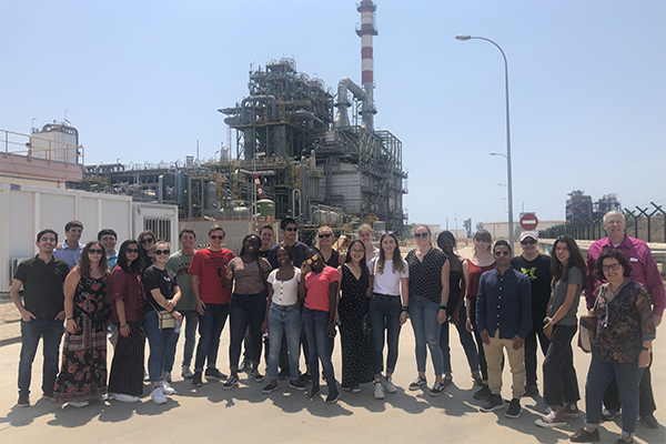 student group in spain at chemical plant