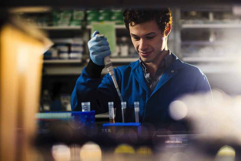 phd student works in lab putting liquid in test tubes
