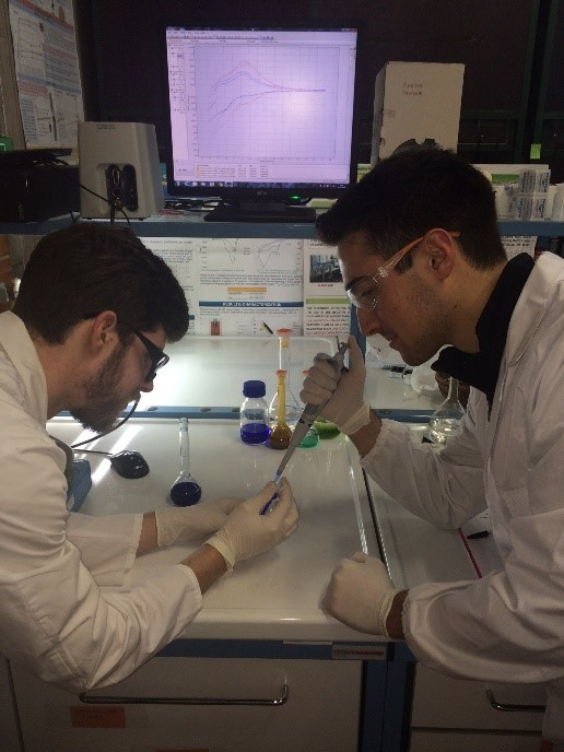 two students working in lab